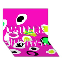 Pink abstract pattern YOU ARE INVITED 3D Greeting Card (7x5)