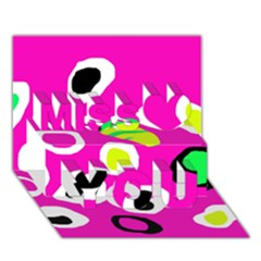 Pink abstract pattern Miss You 3D Greeting Card (7x5)