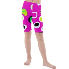 Pink abstract pattern Kid s Mid Length Swim Shorts