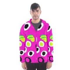Pink abstract pattern Hooded Wind Breaker (Men)