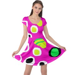 Pink abstract pattern Cap Sleeve Dresses