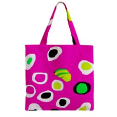 Pink abstract pattern Zipper Grocery Tote Bag