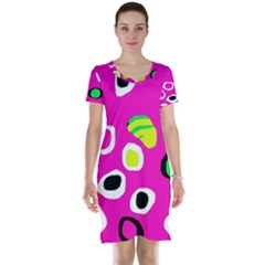Pink abstract pattern Short Sleeve Nightdress