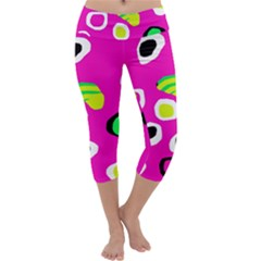 Pink abstract pattern Capri Yoga Leggings