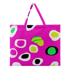 Pink abstract pattern Zipper Large Tote Bag