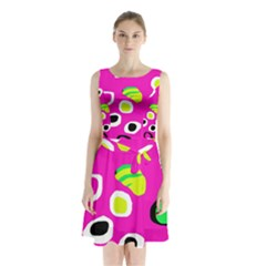 Pink Abstract Pattern Sleeveless Waist Tie Dress