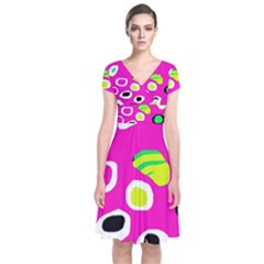 Pink abstract pattern Short Sleeve Front Wrap Dress
