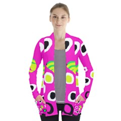 Pink abstract pattern Women s Open Front Pockets Cardigan(P194)