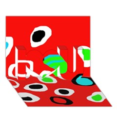 Red abstract pattern I Love You 3D Greeting Card (7x5)
