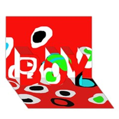 Red Abstract Pattern Boy 3d Greeting Card (7x5)