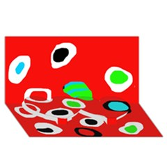 Red abstract pattern Twin Heart Bottom 3D Greeting Card (8x4)