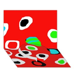 Red abstract pattern Circle Bottom 3D Greeting Card (7x5)