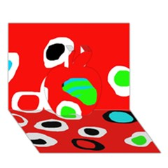 Red abstract pattern Apple 3D Greeting Card (7x5)