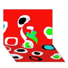Red abstract pattern Ribbon 3D Greeting Card (7x5)
