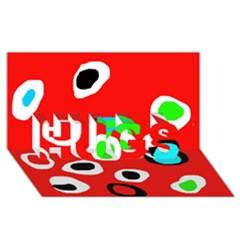 Red abstract pattern HUGS 3D Greeting Card (8x4)