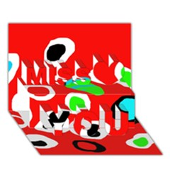 Red abstract pattern Miss You 3D Greeting Card (7x5)