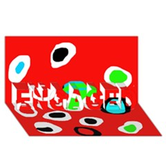 Red abstract pattern ENGAGED 3D Greeting Card (8x4)