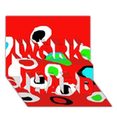 Red abstract pattern WORK HARD 3D Greeting Card (7x5)