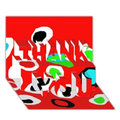 Red abstract pattern THANK YOU 3D Greeting Card (7x5)