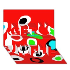 Red abstract pattern Get Well 3D Greeting Card (7x5)