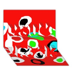 Red abstract pattern You Rock 3D Greeting Card (7x5)