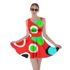 Red abstract pattern Skater Dress