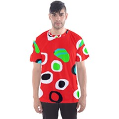 Red abstract pattern Men s Sport Mesh Tee