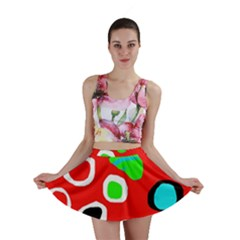 Red abstract pattern Mini Skirt