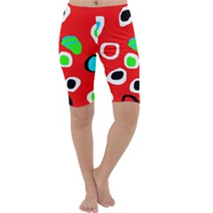 Red abstract pattern Cropped Leggings