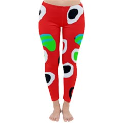 Red abstract pattern Winter Leggings