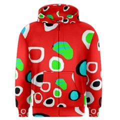 Red abstract pattern Men s Zipper Hoodie
