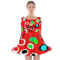 Red abstract pattern Long Sleeve Skater Dress