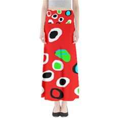 Red Abstract Pattern Maxi Skirts
