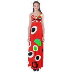 Red abstract pattern Empire Waist Maxi Dress