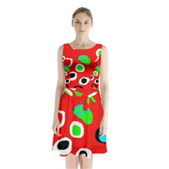 Red abstract pattern Sleeveless Waist Tie Dress