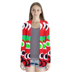 Red abstract pattern Drape Collar Cardigan