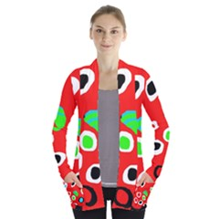 Red abstract pattern Women s Open Front Pockets Cardigan(P194)