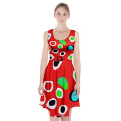 Red abstract pattern Racerback Midi Dress