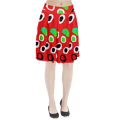 Red abstract pattern Pleated Skirt