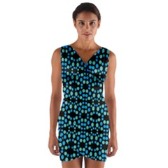 Dots Pattern Turquoise Blue Wrap Front Bodycon Dress