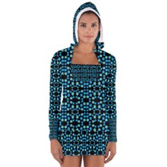 Dots Pattern Turquoise Blue Women s Long Sleeve Hooded T-shirt