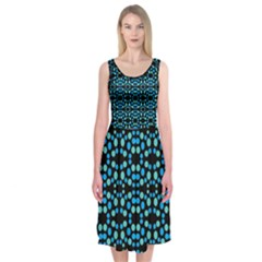 Dots Pattern Turquoise Blue Midi Sleeveless Dress