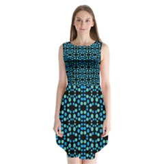 Dots Pattern Turquoise Blue Sleeveless Chiffon Dress