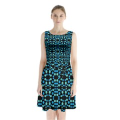 Dots Pattern Turquoise Blue Sleeveless Waist Tie Dress