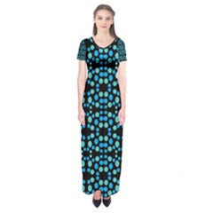 Dots Pattern Turquoise Blue Short Sleeve Maxi Dress