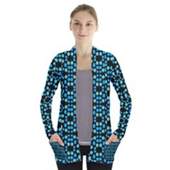 Dots Pattern Turquoise Blue Women s Open Front Pockets Cardigan(p194)