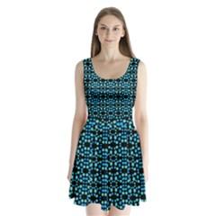 Dots Pattern Turquoise Blue Split Back Mini Dress