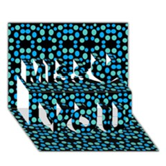 Dots Pattern Turquoise Blue Miss You 3D Greeting Card (7x5)