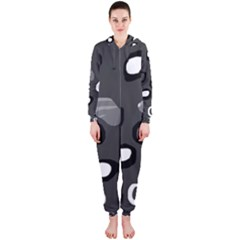 Gray abstract pattern Hooded Jumpsuit (Ladies)