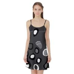 Gray abstract pattern Satin Night Slip